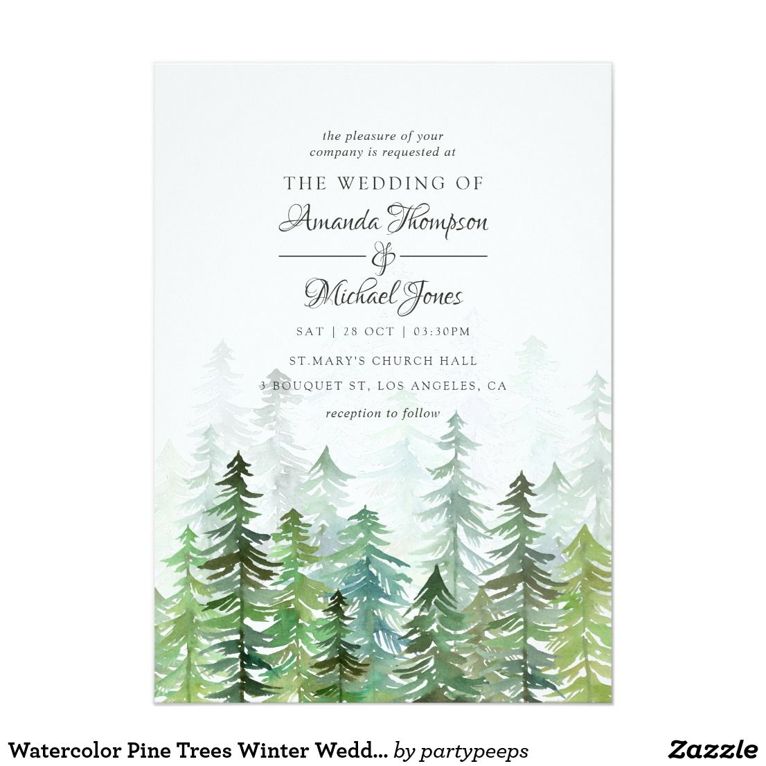 Watercolor Pine Trees Winter Wedding Invitation Zazzle Com