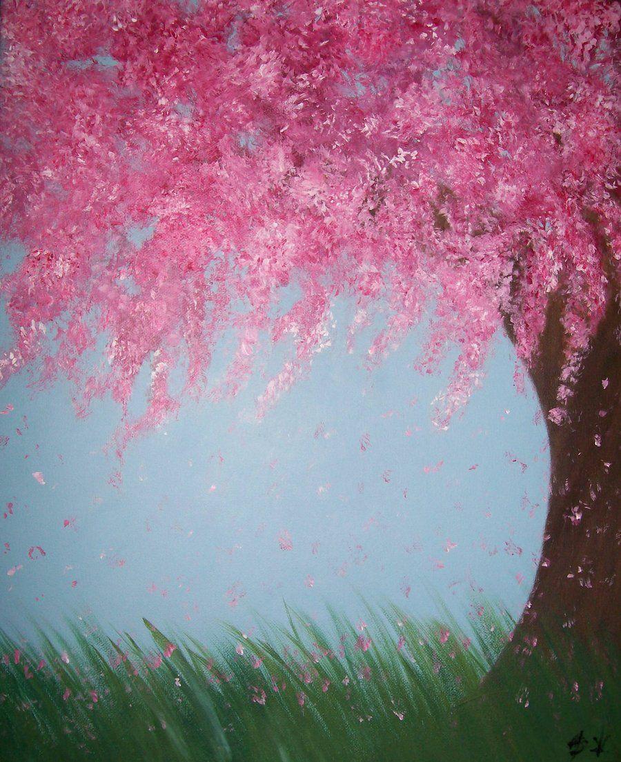 Cherry Blossom Tree By Zoeyelen On Deviantart Cherry Blossom Painting Cherry Blossom Tree Pink Flowering Trees
