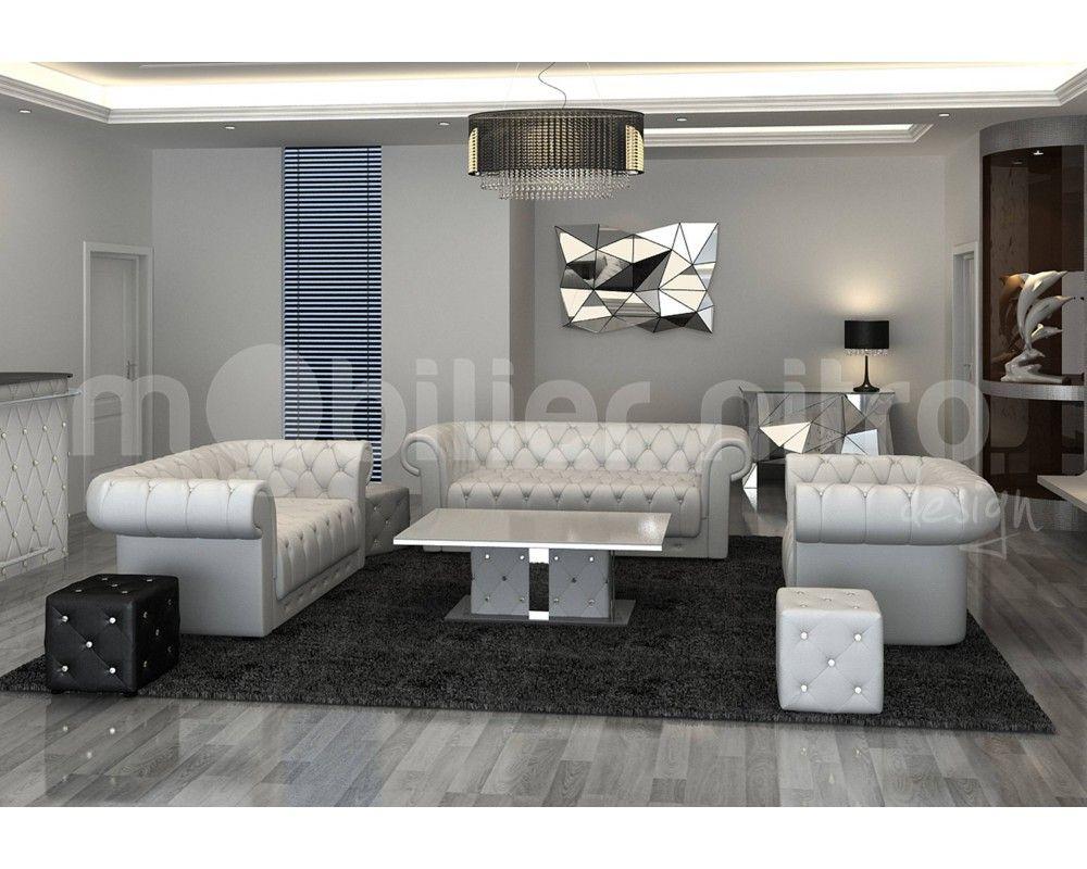 Salonchesterfieldcuirdesigncanapetroisplacescanapedeux - Canapé 3 places pour decoration salon cuir noir