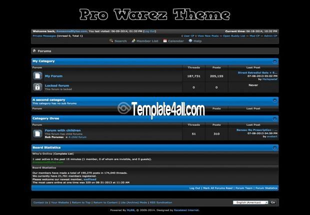 Free MyBB Templates - Blue Warez Mybb Forum Theme #mybb #warez ...