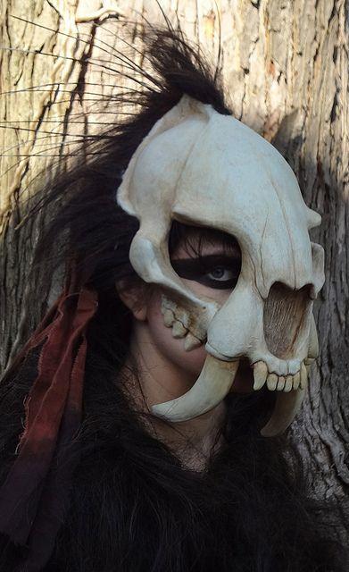 Custom Sabertooth skull mask. Melita Curphy.