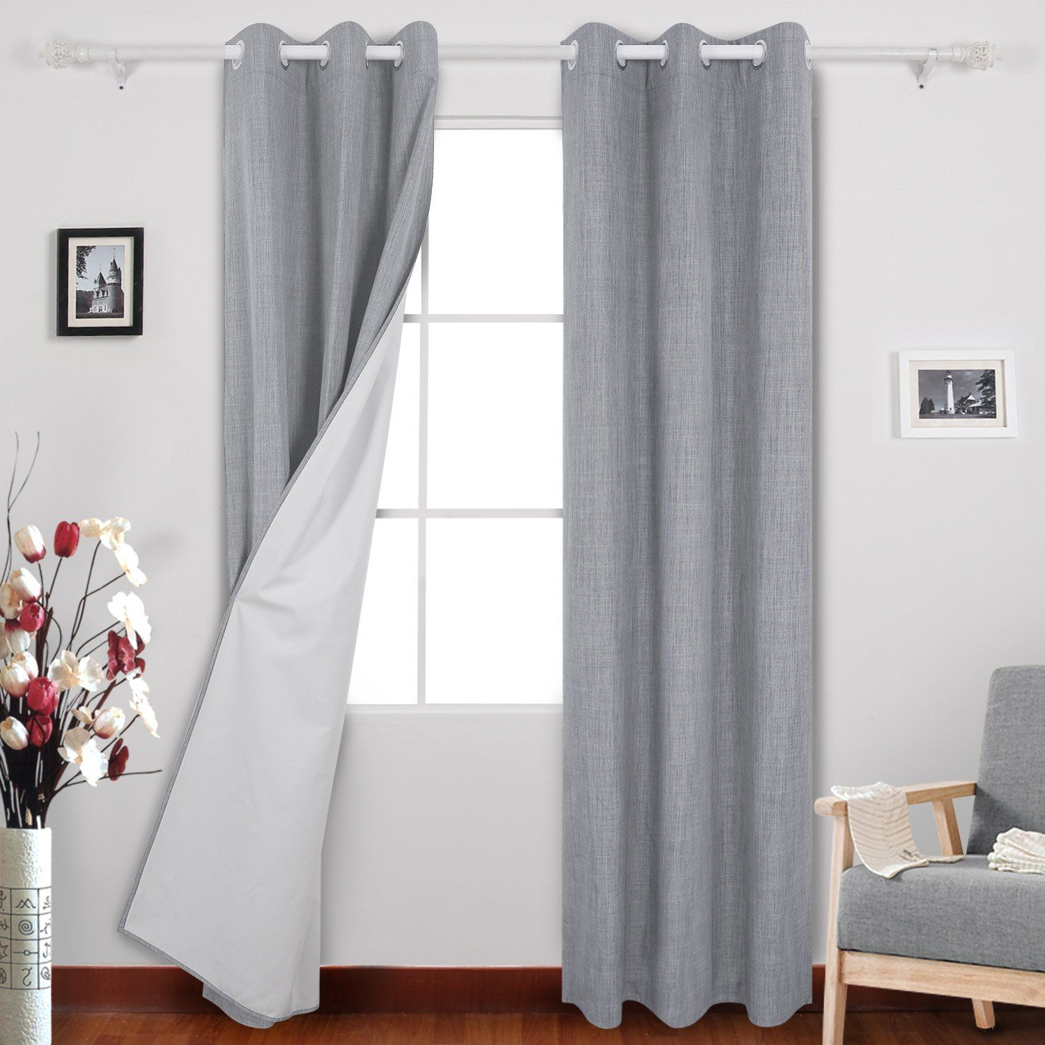 Deconovo Blackout Curtains With White Backing Grommet Top Heavy Thick Room Darkening C Thermal Insulated Blackout Curtains Curtains Insulated Blackout Curtains