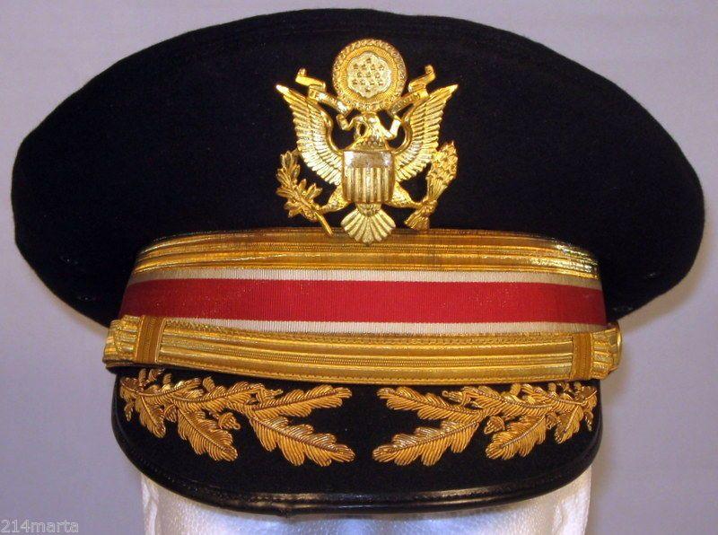 2f34f63d4a24 US Army Field Officer Engineers Dress Blues Uniform Hat Cap 6 7/8 55 Bullion