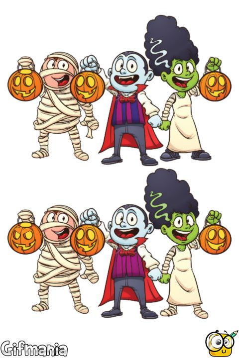 Find the 7 differences in Halloween! #halloween #activitypages ...