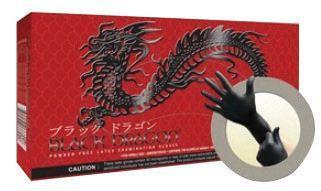 "Microflex Medium Black 9 1/2"" Black Dragon 4.7 mil Latex Ambidextrous Non-Sterile Medical Grade Powder-Free Disposable With Textured Finish And Standard Examination Beaded Cuff (100 Gloves Per Dispenser Box)"