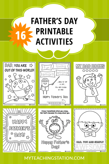 16 Father's Day Printable Activities for Kids. ‪#‎myteachingstation‬ ‪#‎fathersday‬ ‪#‎finemotorskills