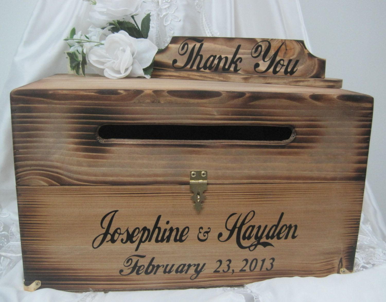 Large Dark Walnut Wooden Wedding Treasure Chest Card Box with |Wooden Chest For Wedding Cards