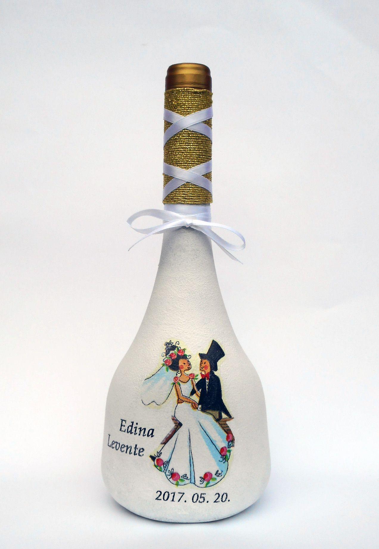 Egyedi, kézzel festett borosüveg, szülőköszöntő ajándék apukáknak