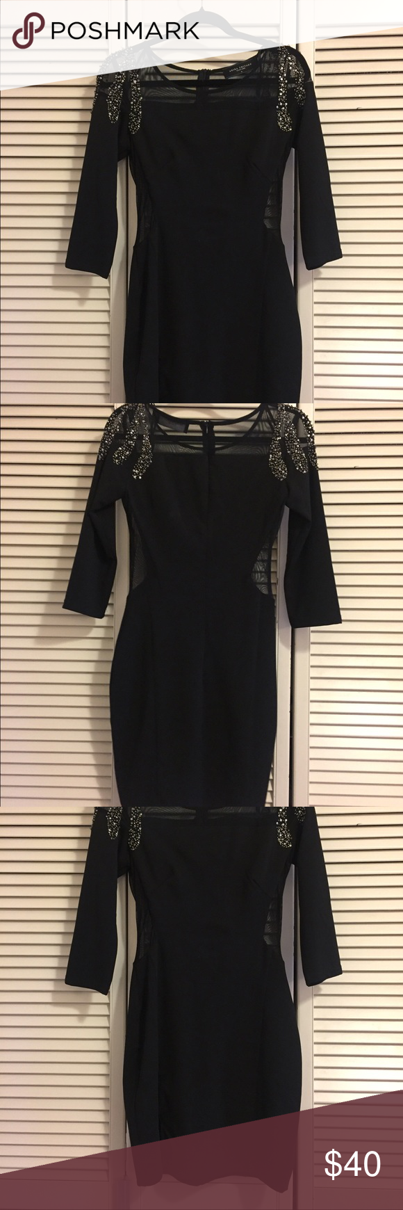 Black Sequined Cutout Dress Perfect for the holidays! This dress has sexy cutouts on the side and shoulders but is not too revealing. Also has a slit up to the mid thigh. I've worn to a couple holiday parties and always get compliments! AKIRA Dresses