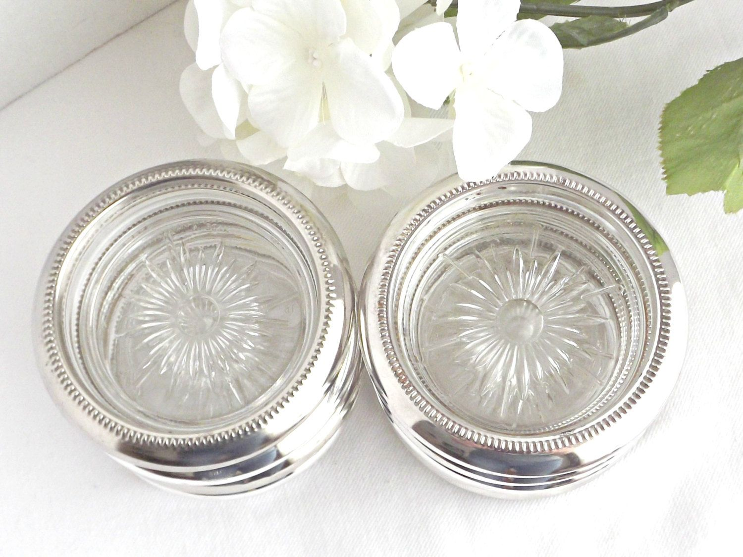 Silver Plated And Glass Coasters Vintage Coasters Italian Glass