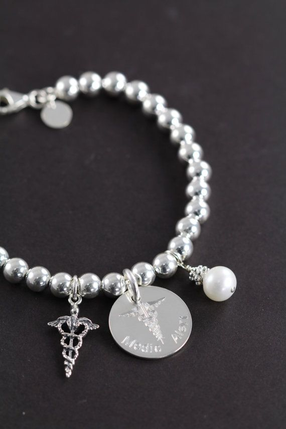 Personalized Medical Alert Bracelet Custom Engraved 925 Sterling Silver Id Jewelry By Shiny Little