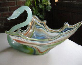 Vintage glass swan