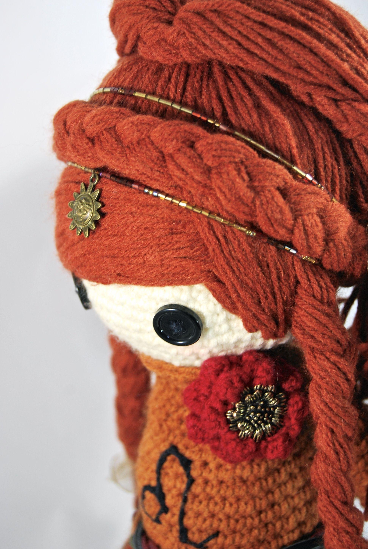 LEO ZODIAC Crochet Art Doll closeup. She is handmade in free form ...