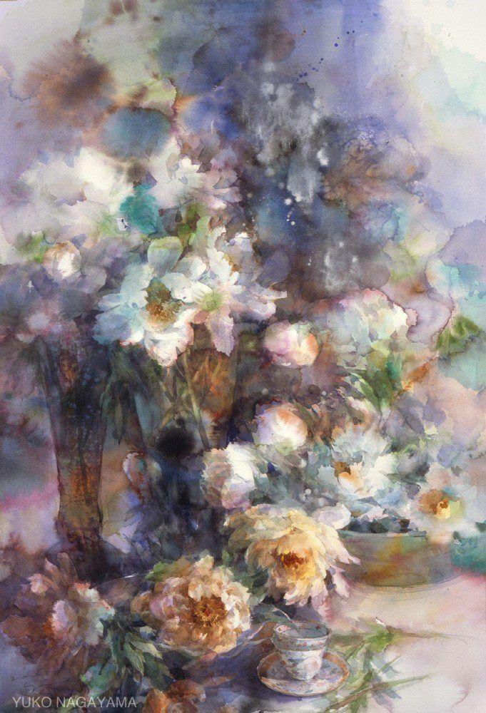 Yuko Nagayama 永山裕子 1963 Flower Art Floral Watercolor Art