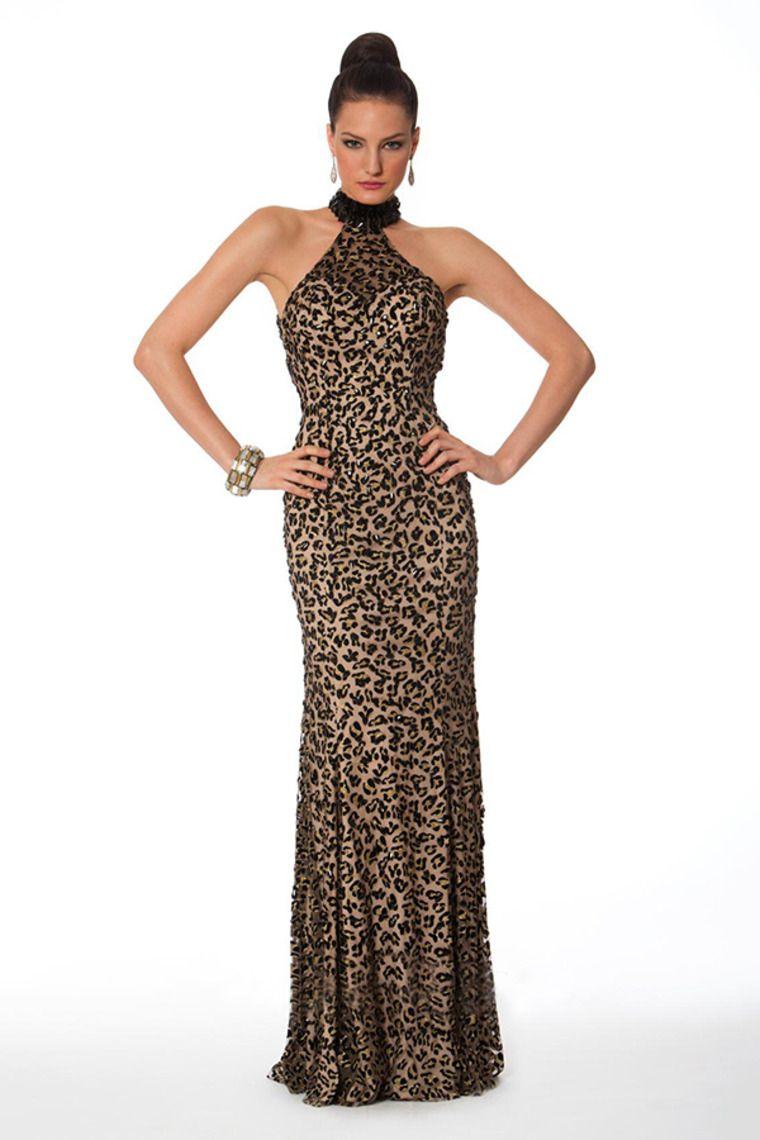 new arrival animal print prom dress backless floor length