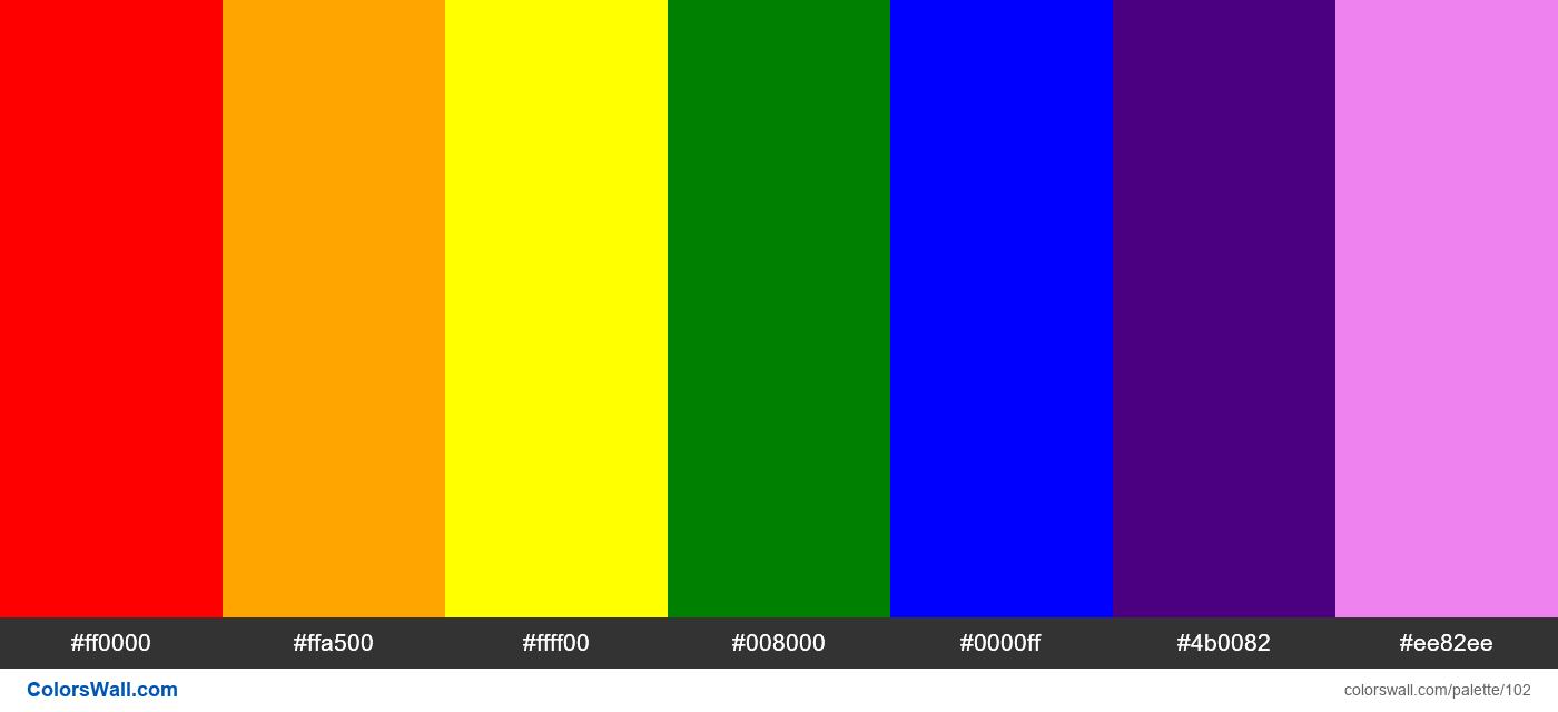Rainbow colors palette. HEX colors ff0000, ffa500,