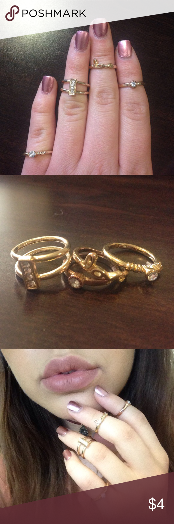 4-Piece gold ring set 4 gold midi or pinky rings with crystals, very cute and fun together or dainty and casual on their own Jewelry Rings