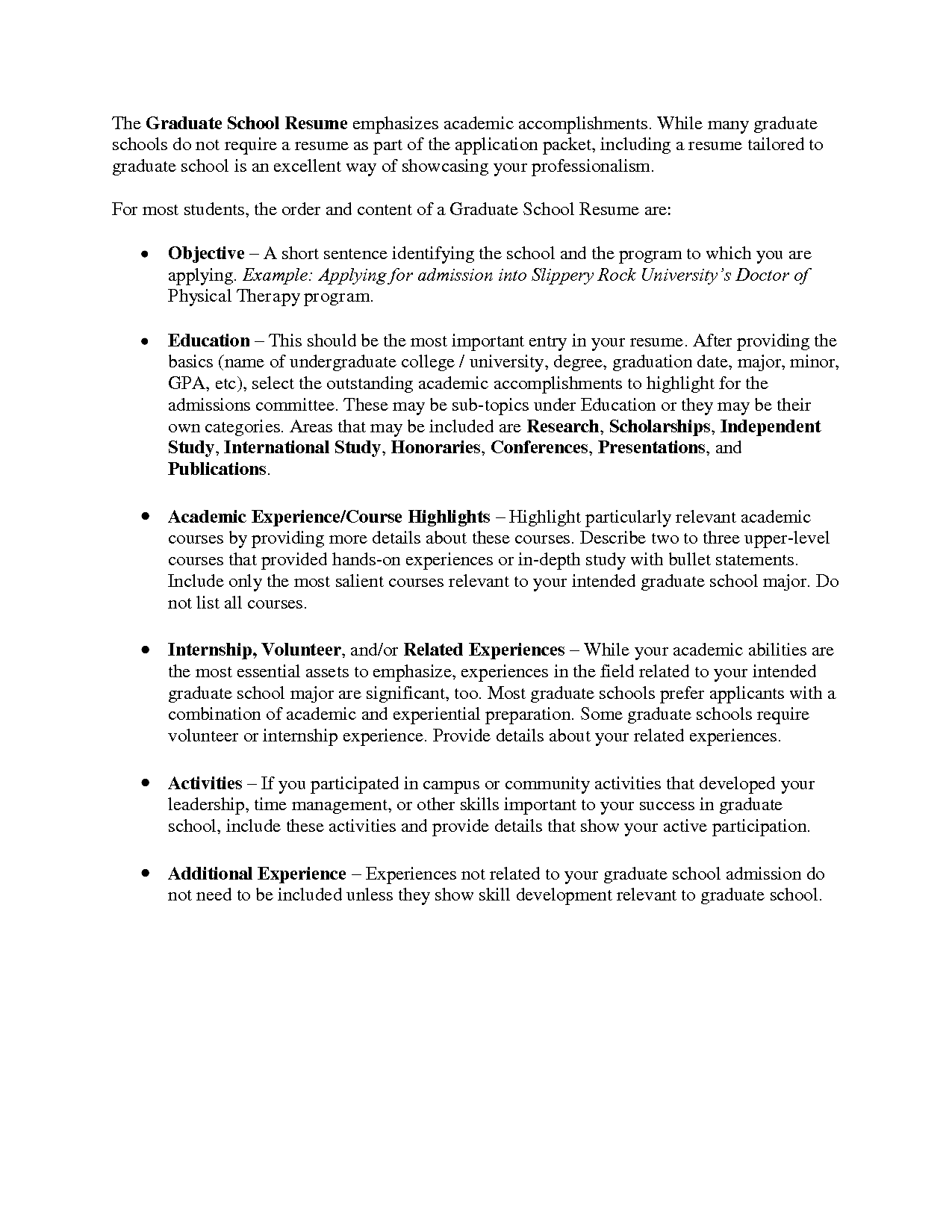 graduate school resume sample http www resumecareer info