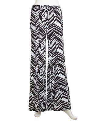 Wide-Leg Graphic-Print Stretch Pants, Deco Leaf by Fraiche by J at Neiman Marcus Last Call.