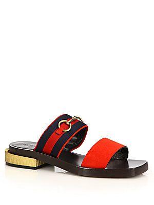 0d50e0430aac Gucci Querelle Suede Horsebit  amp  Silk-Effect Sandal Comfortable Flats