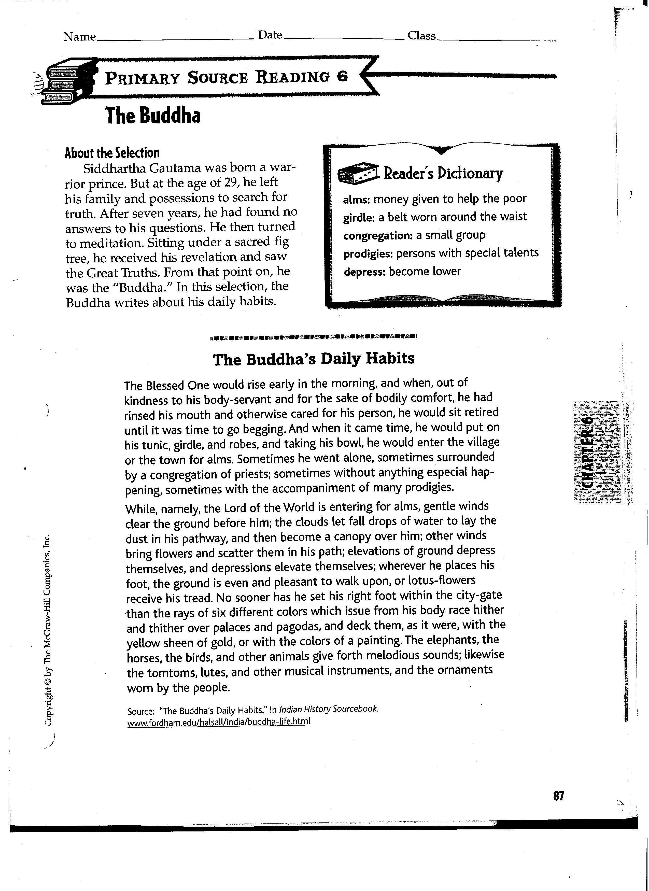 Buddha Worksheets