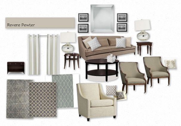 Gray And Taupe Living Room Notice Wall Color Is Revere Pewter