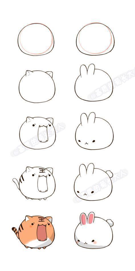 Ein Tiger und ein Kaninchen Kawaii, - Zeichnen -