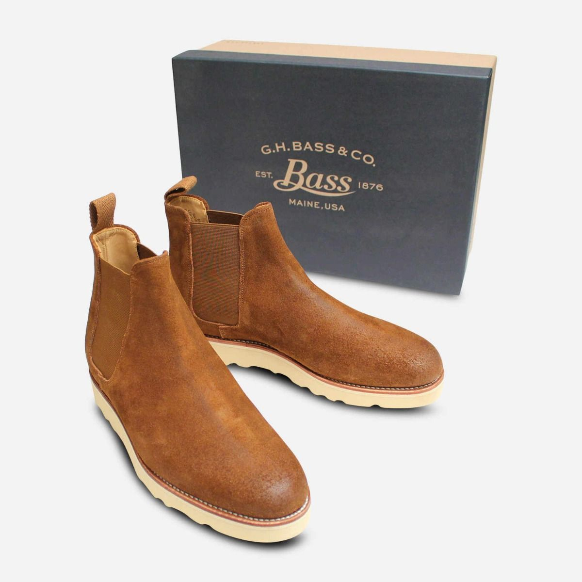 Designer Bass Waxy Brown Suede Wedge Sole Chelsea Boots