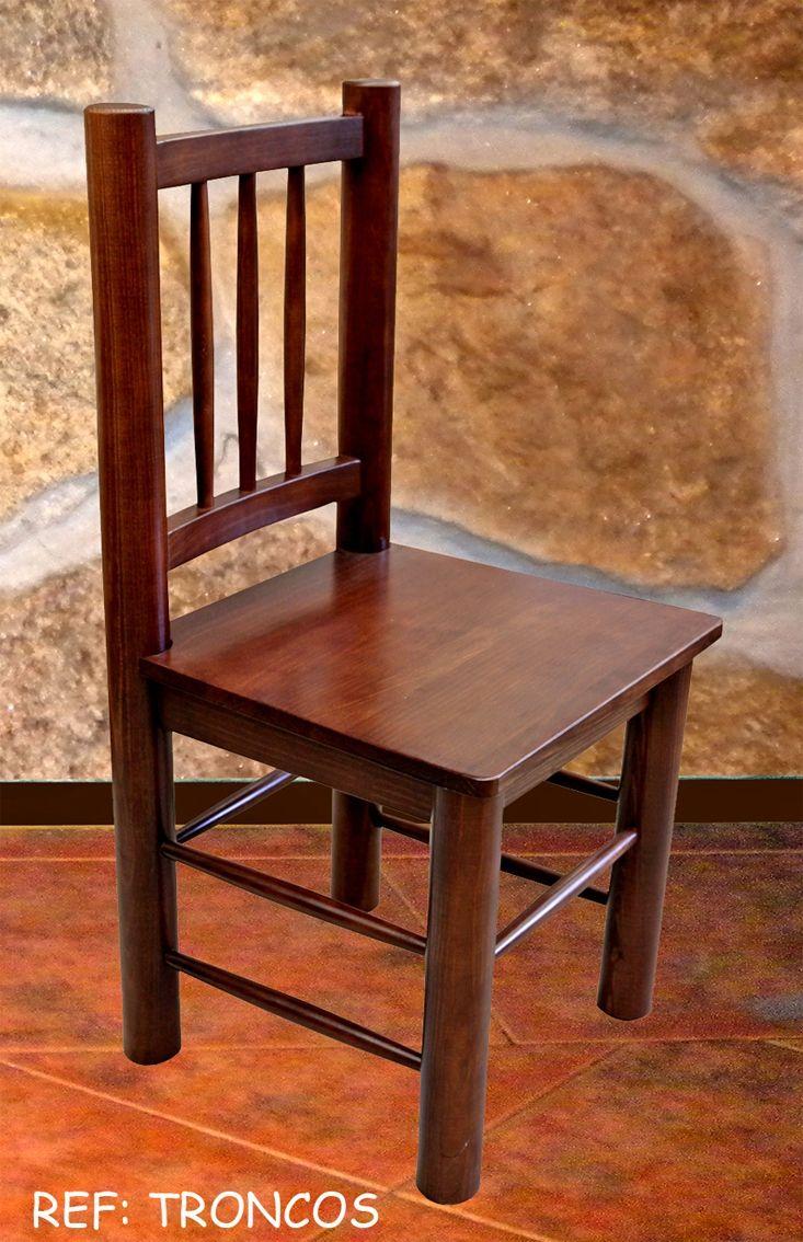 Silla troncos 3 barrotes mobiliario de madera en 2019 for Sillas comedor rusticas