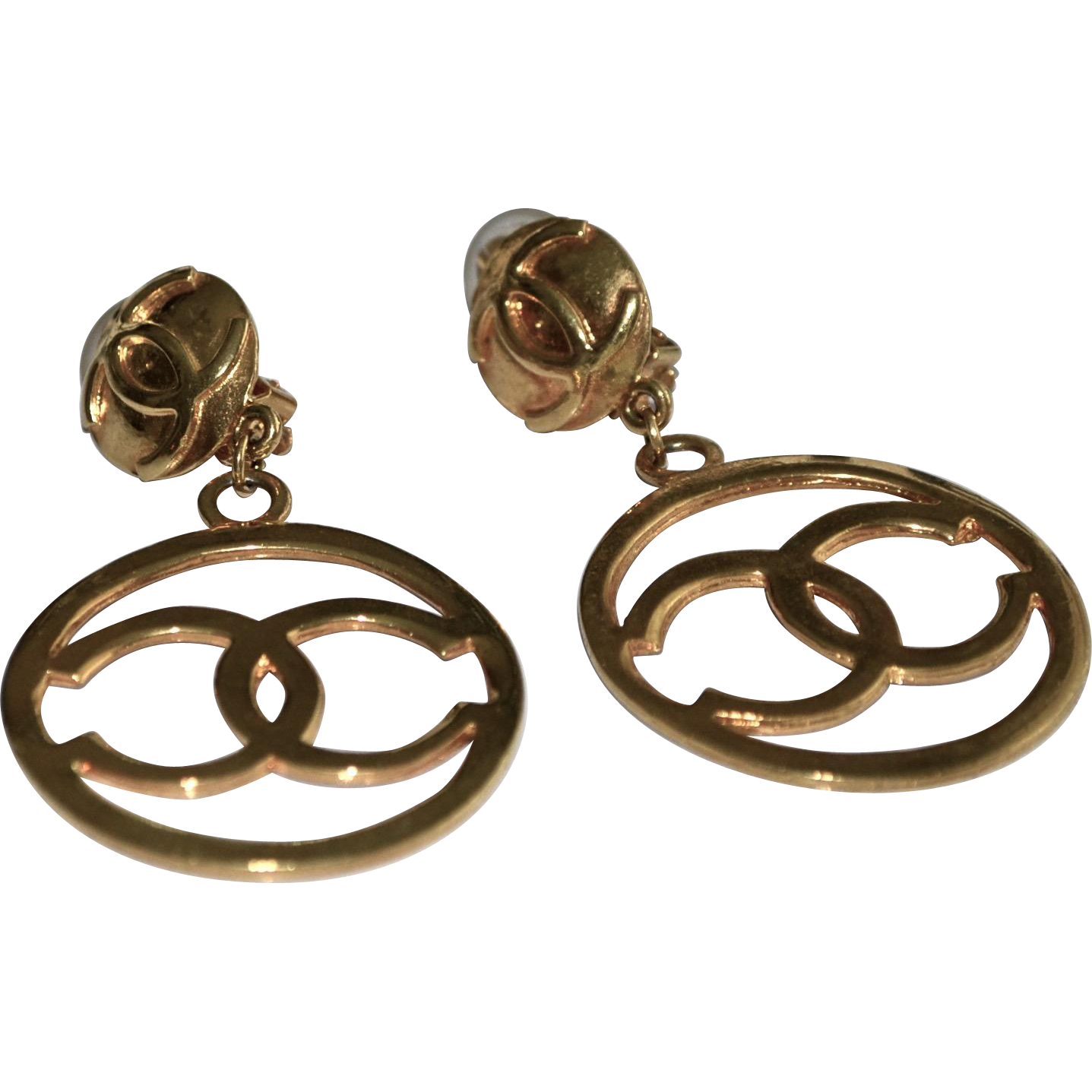 Large Iconic CHANEL Gold Plate Logo CC Hoop Earrings in