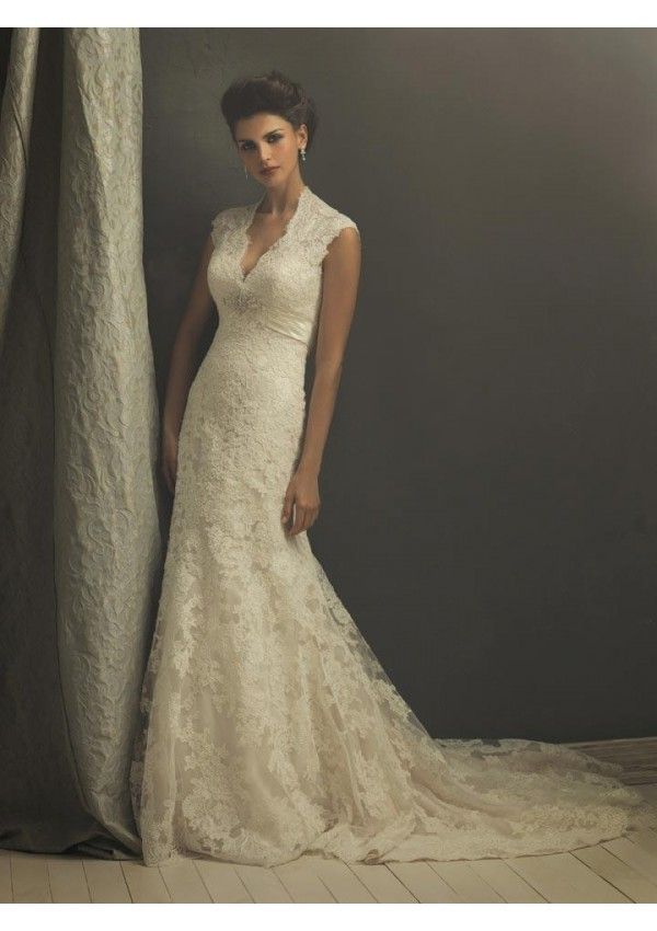 Elegant Full Lace Liqué Sheath Queen Anna Neckline Vintage Wedding Dresses This Gown Is A