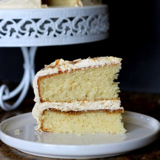 Yellow Cake with Caramel Buttercream. Yes please!