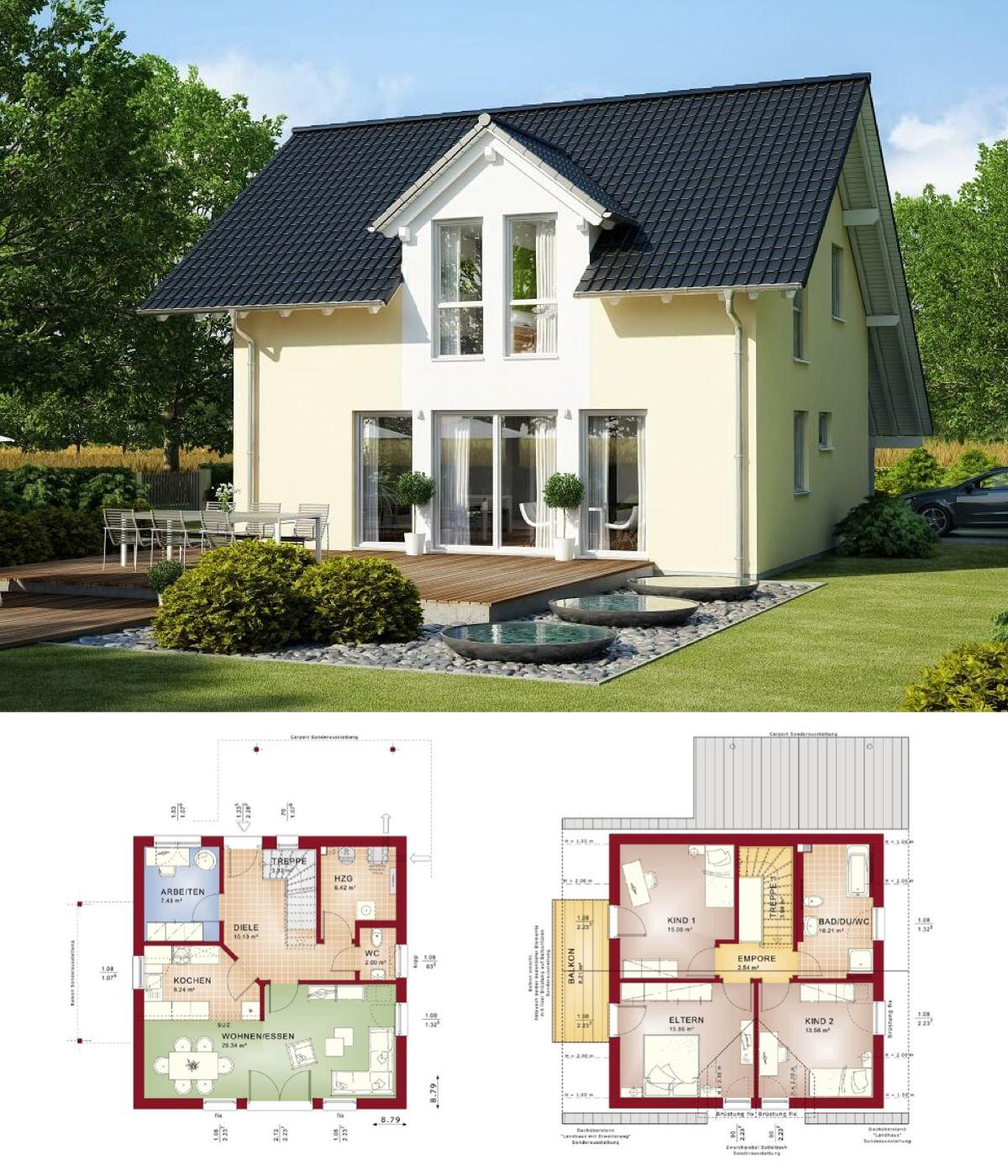 Genial Einfamilienhaus Satteldach Beste Wahl Klassisches Mit Architektur & Carport - Grundriss
