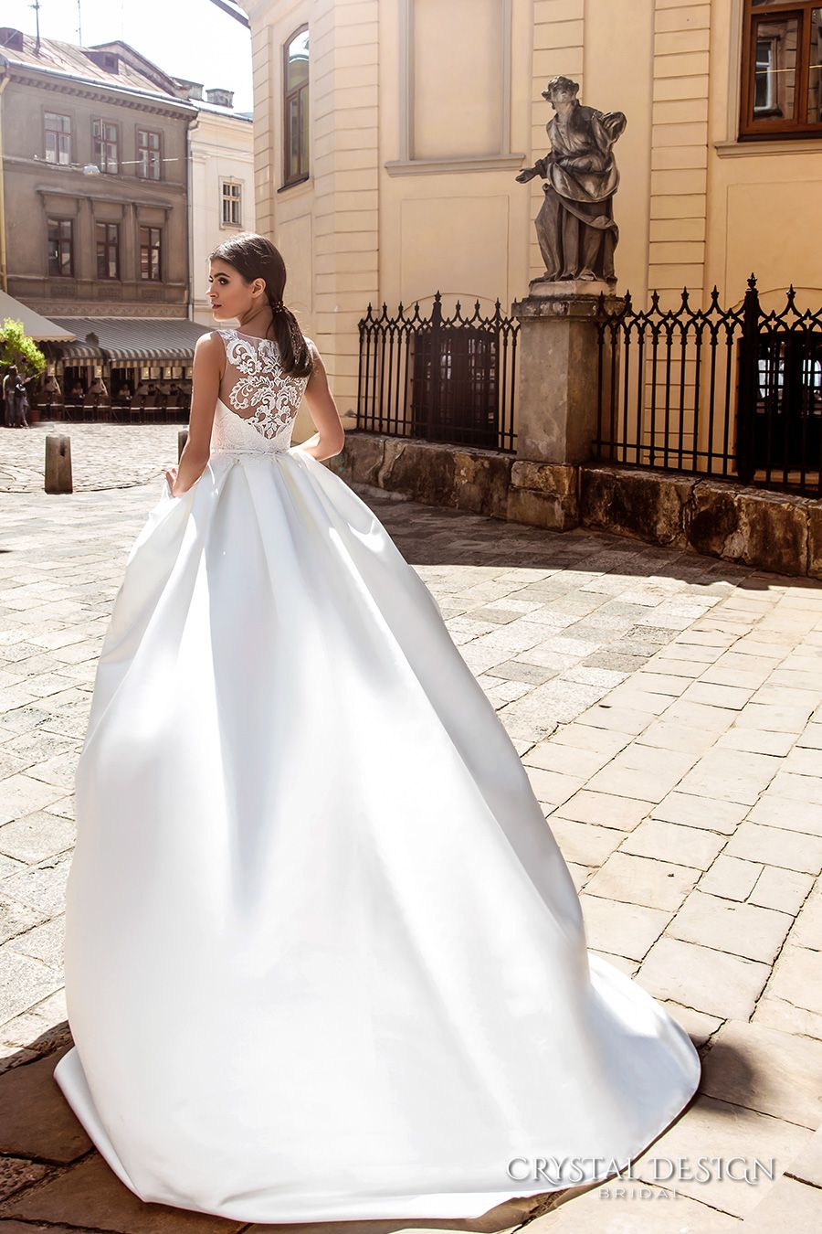 Wedding dress with short front and long back  Crystal Design  Wedding Dresses  Designs Dress lace and A line