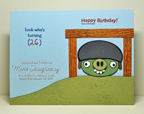 COLLEEN'S ANGRY BIRDS PIG PUNCH ART BIRTHDAY CARD (inside) by MarieStamps.com featuring Stampin' Up! punches.