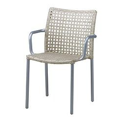 ENHOLMEN chair with armrests, light grey Width 56 cm