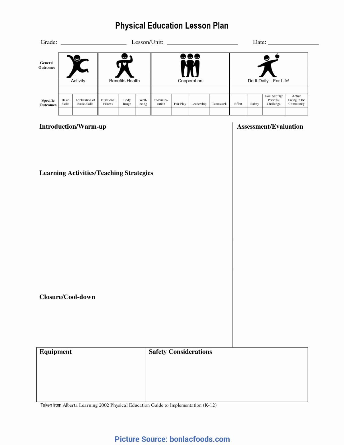 30 Pe Lesson Plan Template Blank In