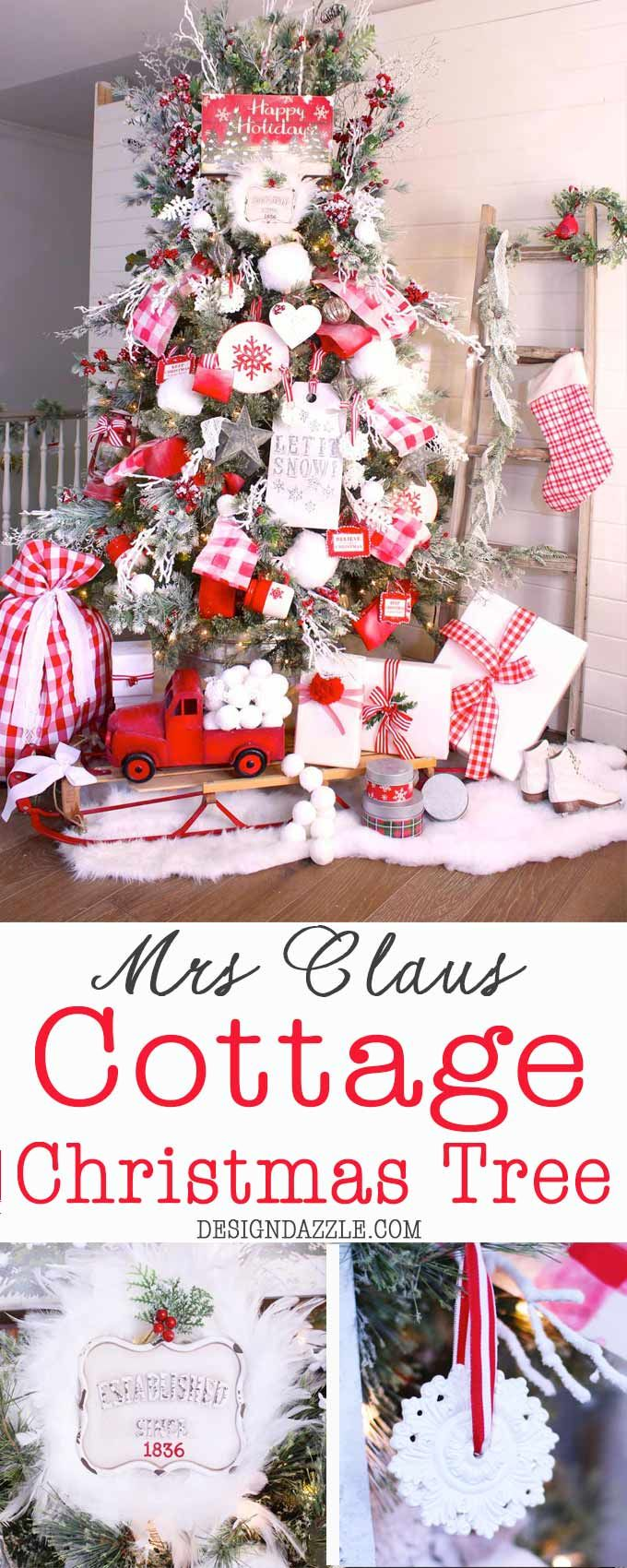 Mrs Claus Cottage Christmas Tree #decoratingtips