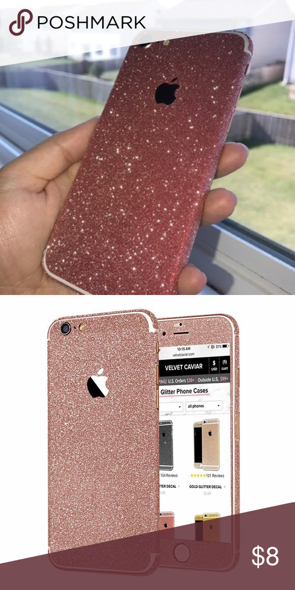 info for 89722 f79e8 iPhone 8 Plus Rose Gold Full Cover Glitter Decal 100% perfect fit ...