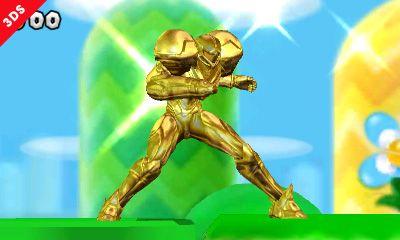 Samus Super Smash Bros 3ds Sakurai If You Collect 100 Coins You Transform Into A Gold Fighter For A Sh Super Smash Bros Super Smash Bros 3ds Smash Bros