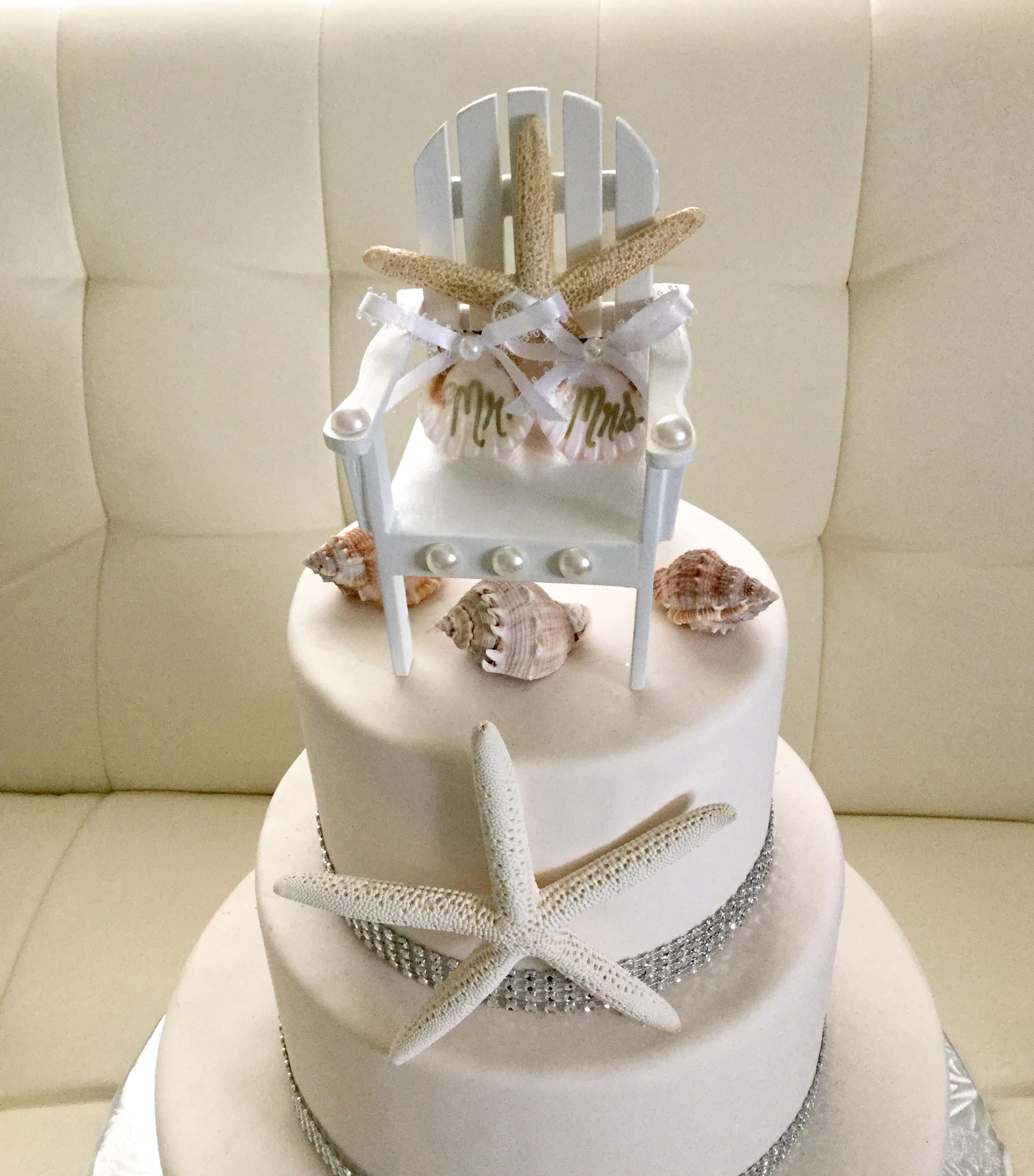 Beach Wedding Cake Topper Starfish Cake Topper Beach Chair Cake