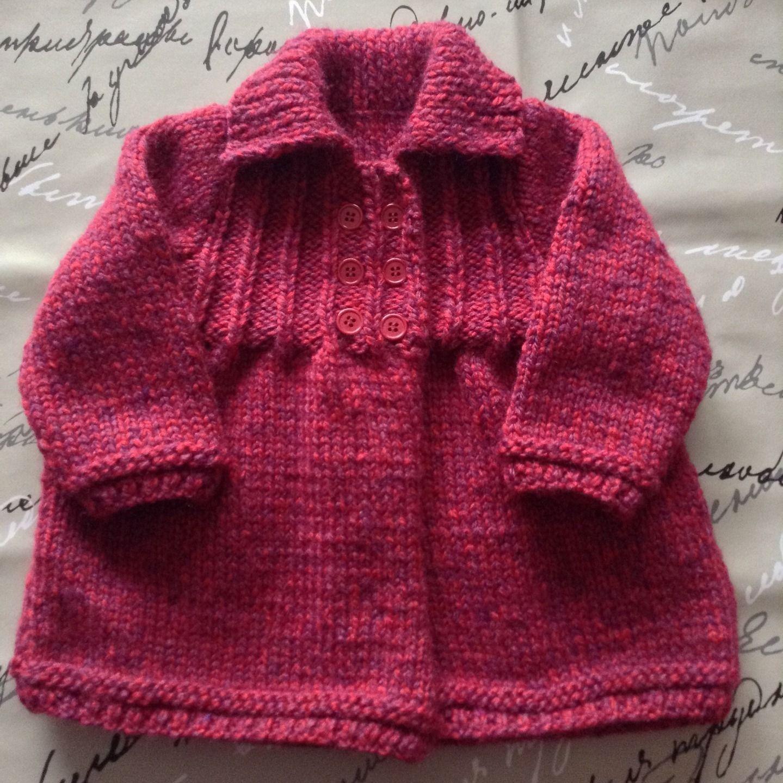 Populaire Manteau Gilet Bébé filles 1 an tricot main rose fuchsia / mauve  KQ71