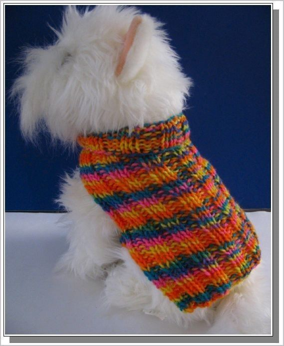 Dog Sweater Knitting Pattern Very Easy To Knit Basic Ribbed Pdf