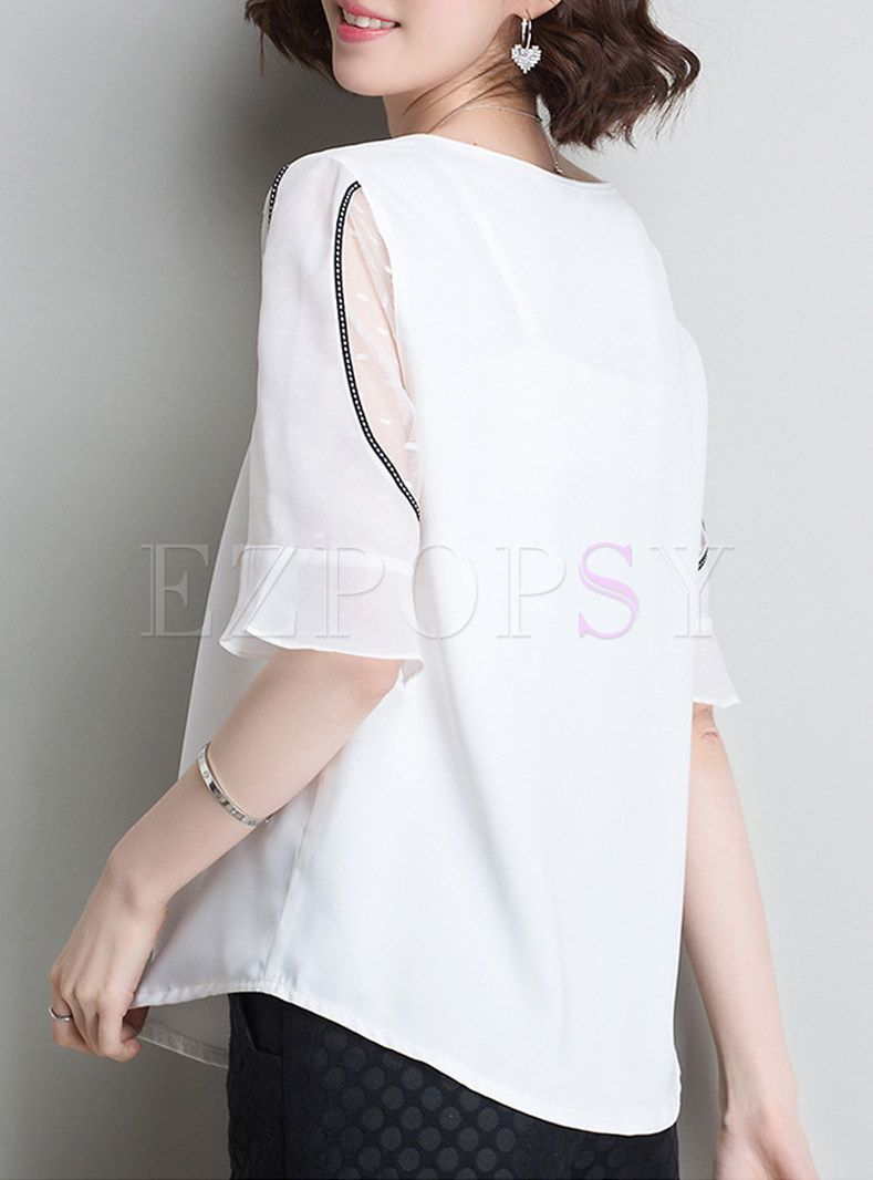 be6af315ec White Mesh Splicing Flare Sleeve Blouse in 2019