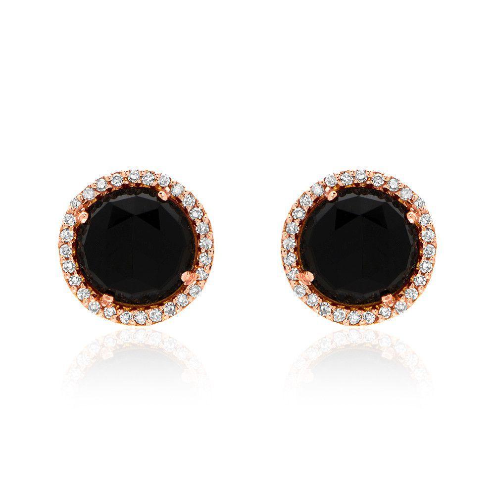 Rosie 7.0mm Black Onyx & Diamond Post Earrings