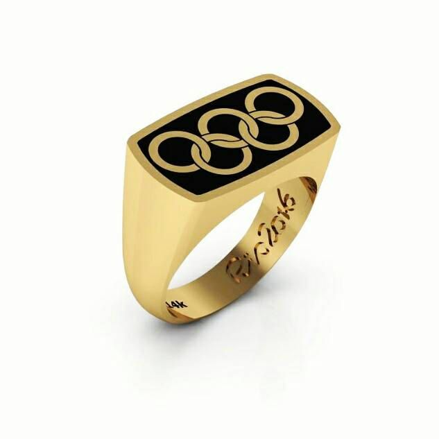 3356a5854bed2 olympic rings Signet Ring 14k Yellow gold Paralympics ring ...
