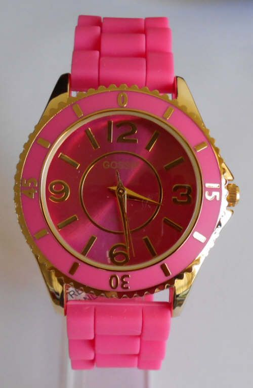 Women S Silicone Rubber Watch Gossip Pink Silicone Band