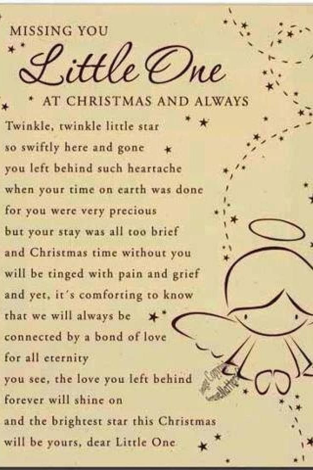 Missing You Little One At Christmas Love You Forever My Baby A