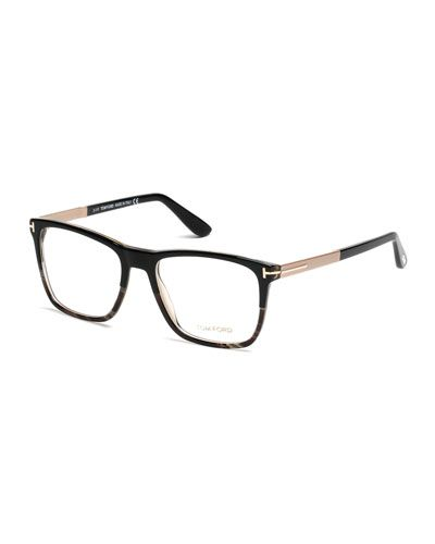 1f39a1a3f51fa Square Black Horn Eyeglasses Black Rose Gold