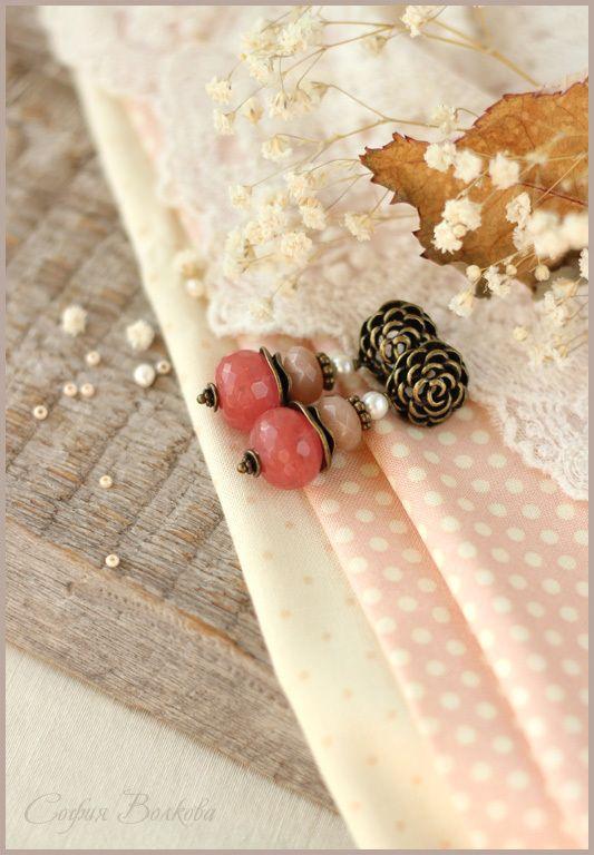 """Купить Серьги """"Румяный персик"""" - серьги, серьги с камнями, серьги с жемчугом, розы, персиковый"""